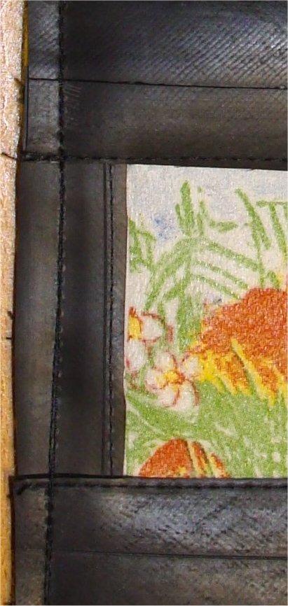 Detalje. Det lodrette stykke er syet på før de vandrette stykker.
