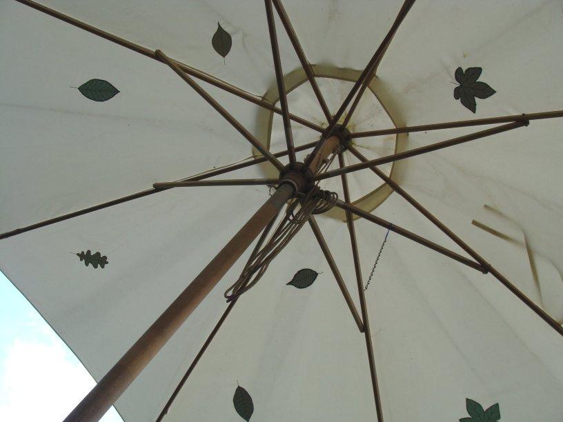 Som det ser ud under parasollen.