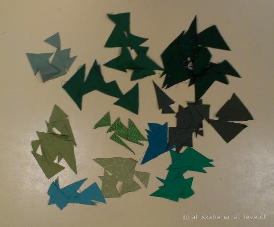 trekantet juletr - stofstykker